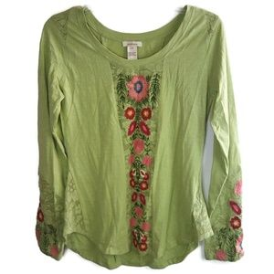 SUNDANCE XS Green Floral Embroidered Long Sleeve
